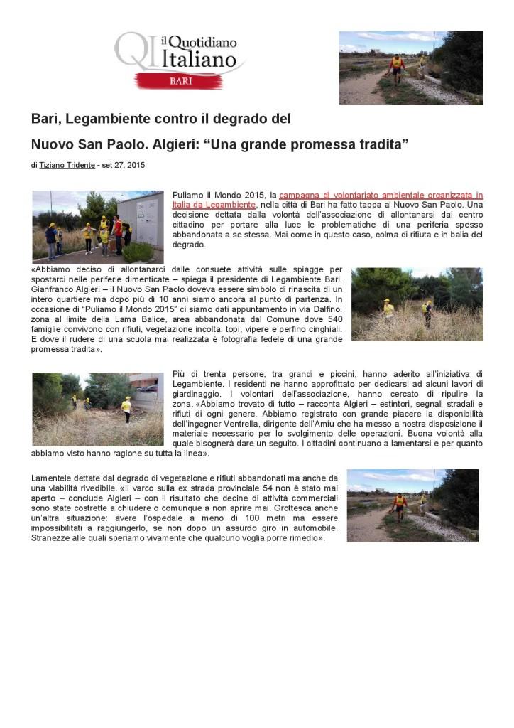 PuliamoIlMondo2015ConLegambienteNuovoSanPaoloArticoloIlQuotidianoItaliano27092015